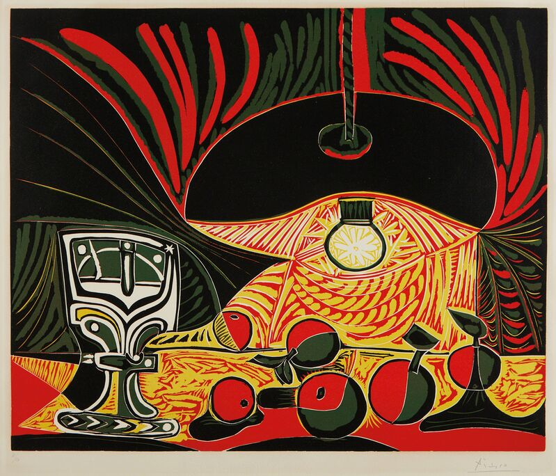 Pablo Picasso, 'Nature morte au verre sous la lampe (Still Life with Glass under the Lamp)', 1962, Print, Linocut in colors, on Arches paper, with full margins, the colors fresh, Phillips