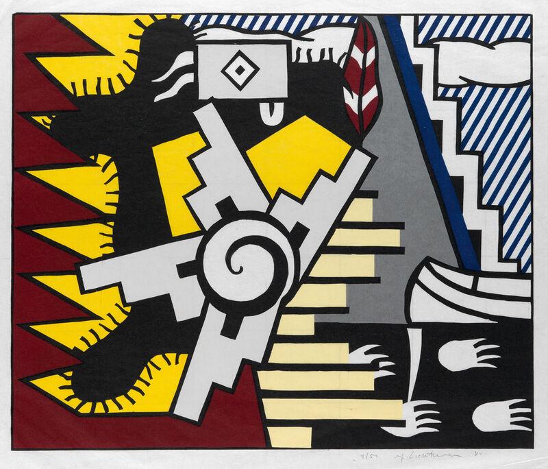 Roy Lichtenstein, 'American Indian Theme II', 1980, Print, Color woodcut on soft handmade Japan paper, Invertirenarte.es