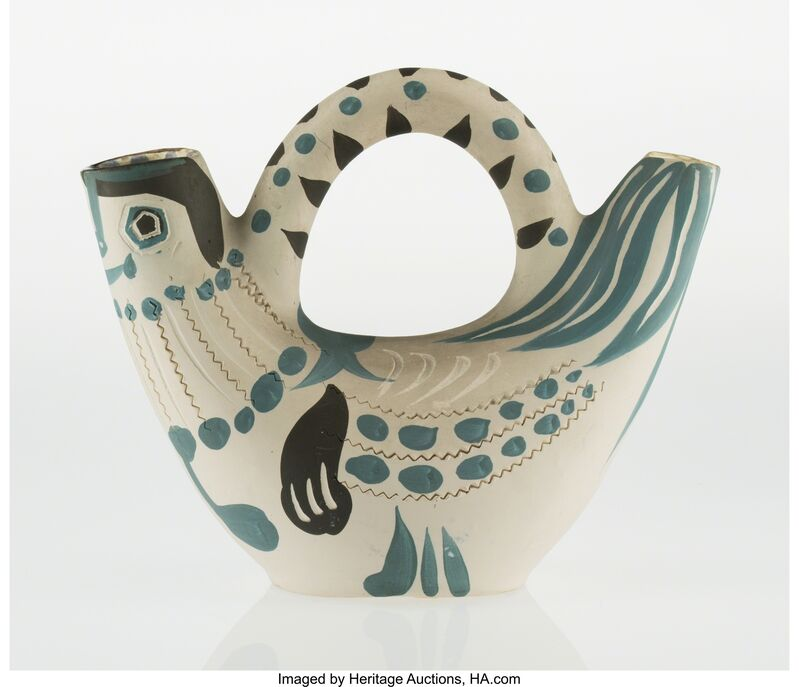 Pablo Picasso, 'Pichet espagnol en forme de poule (A./R. 244)', 1954, Other, White earthenware ceramic pitcher, with engraving, handpainting, and partial glazing, Heritage Auctions