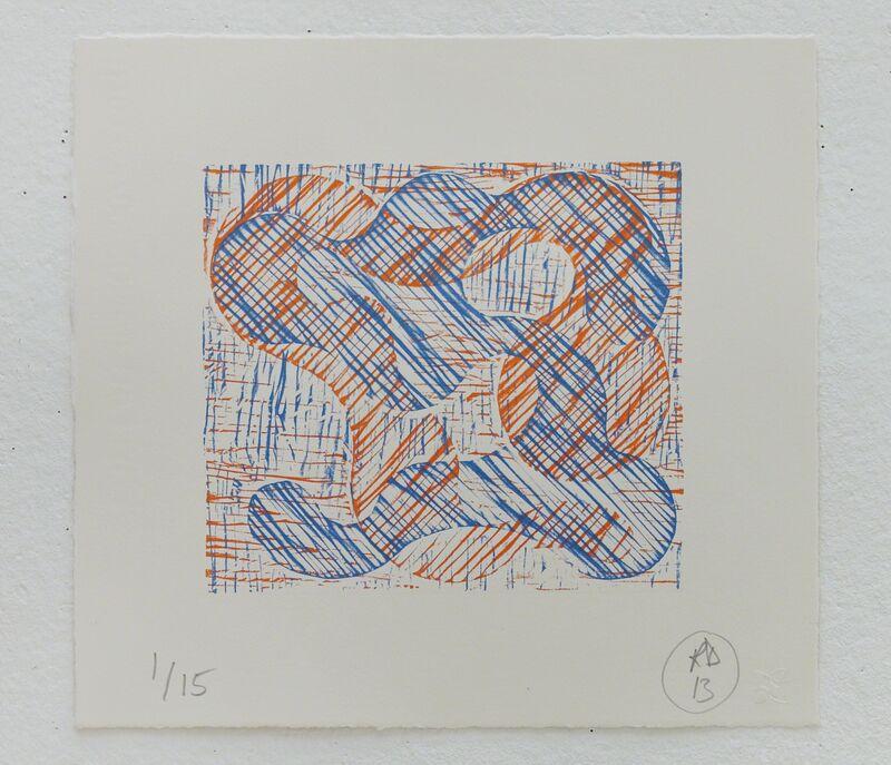Richard Deacon, '1+1=10 Orange/Blue', 2013, Print, Relief Print, Fabriano 100% cotton paper, STPI