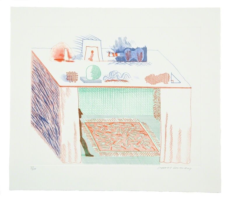 David Hockney, 'In a Chiaroscuro (M.C.A. Tokyo 186)', 1976-77, Print, Etching with aquatint printed in colours on wove paper, Forum Auctions