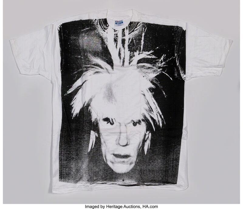 Andy Warhol, 'Self-Portrait with Fright Wig', circa 1986, Print, Silkscreen in black on (XXL) T-shirt, Heritage Auctions