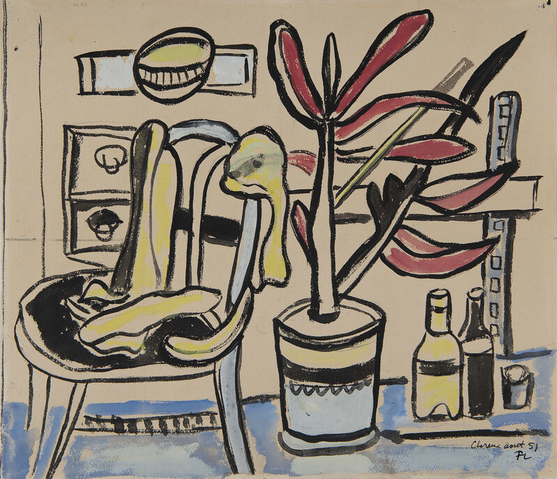 Fernand Léger, 'Une chaise, pot de fleurs, deux bouteilles', 1951, Drawing, Collage or other Work on Paper, Watercolor on paper, HELENE BAILLY GALLERY