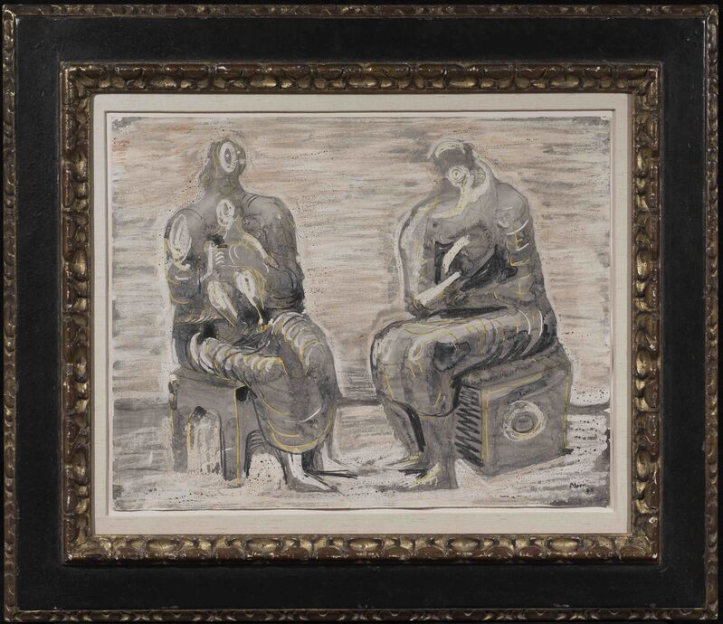 Henry Moore, 'Two women and children', 1945, Drawing, Collage or other Work on Paper, Watercolour, wax crayon, brush and ink, wash and charcoal on paper, Alon Zakaim Fine Art