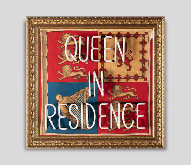 Illuminati Neon, 'Queen in Residence ', 2016, Sculpture, Neon Installed On a Framed Vintage Buckingham Palace Flag, Imitate Modern