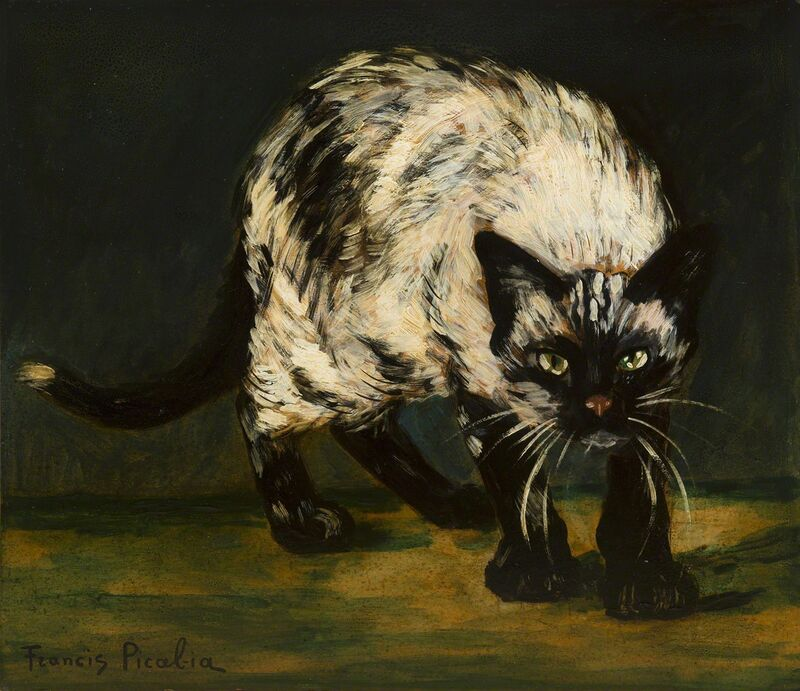 Francis Picabia, 'Le chat', 1938, Painting, Oil on cardboard, HELENE BAILLY GALLERY