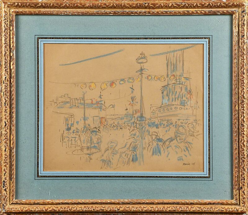 John Marin (1870-1953), 'Carnival No. 3', 1905, Drawing, Collage or other Work on Paper, Pencil and charcoal on paper (framed), Rago/Wright