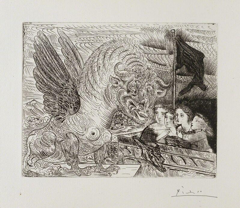 Pablo Picasso, ''Harpye à tête de Taureau, et quatre petites Filles sur une Tour surmontée d'un Drapeau noir' from the 'Suite Vollard'', 1931, Print, Etching, Frederick Mulder
