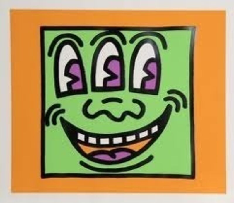 Keith Haring, 'Icons-Face', 1990, Print, Silkscreen with embossing, Vertu Fine Art