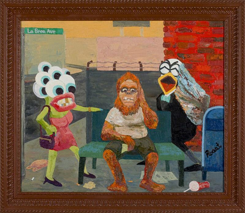 Roast Hoggmann, 'Left on La Brea', 2013-2016, Painting, Oil on framed glass, Craig Krull Gallery