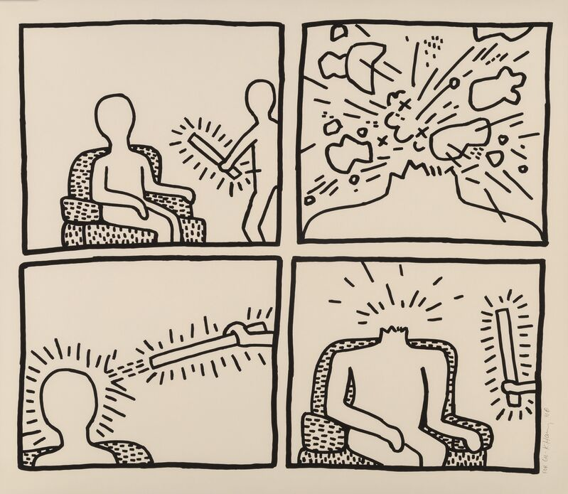 Keith Haring, 'Untitled (The Blueprint Drawings - No. 14)', 1990, Print, Silkscreen, paper, Artificial Gallery