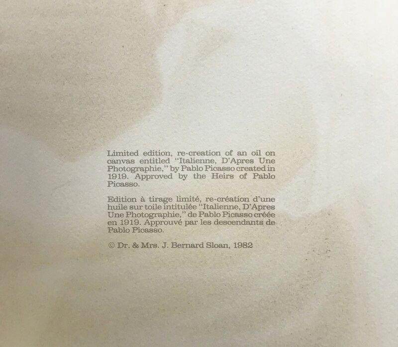 Pablo Picasso, 'ITALIENNE D'APRES UNE PHOTOGRAPHIE', 1979-1982, Reproduction, LITHOGRAPH ON ARCHES PAPER, Gallery Art