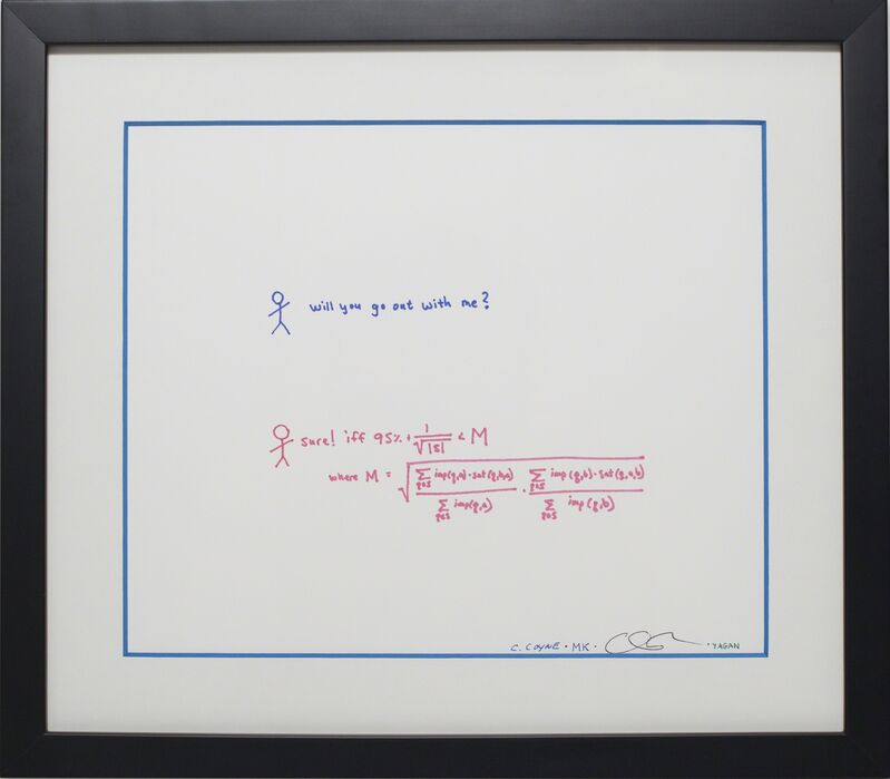 """Chris Coyne, Max Krohn, Sam Yagan, Christian Rudder, 'OkCupid Compatibility Calculation', 2003, Sculpture, Two Pencil and Ink Drawings in Wood Frames 9""""x12"""" & 12.5""""x14.25"""", Algorithm Auction"""