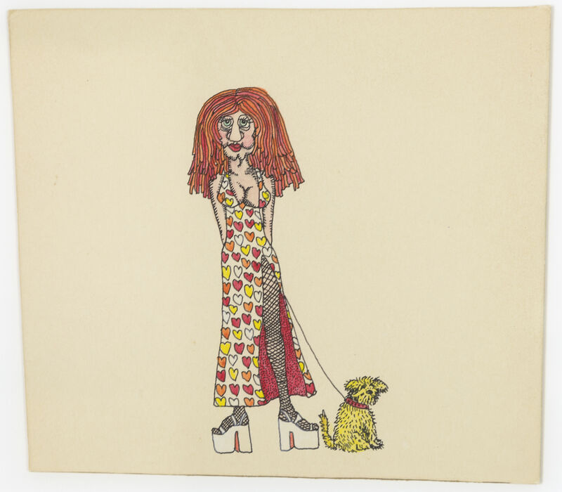 Keith Haring, 'Untitled (Queen of Hearts with Dog on Leash)', 1976, Drawing, Collage or other Work on Paper, Ink on illustration board, Heather James Fine Art
