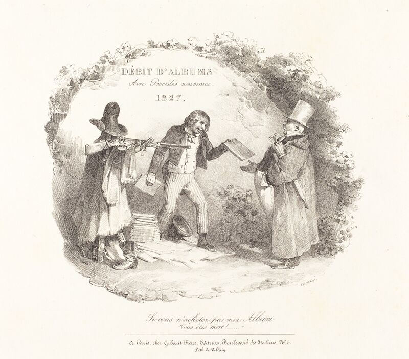 Nicolas-Toussaint Charlet, 'Débit d'Albums avec Procédés nouveaux (New Methods for the Sale of Lithograph Albums)', 1827, Print, Lithograph on wove paper, National Gallery of Art, Washington, D.C.