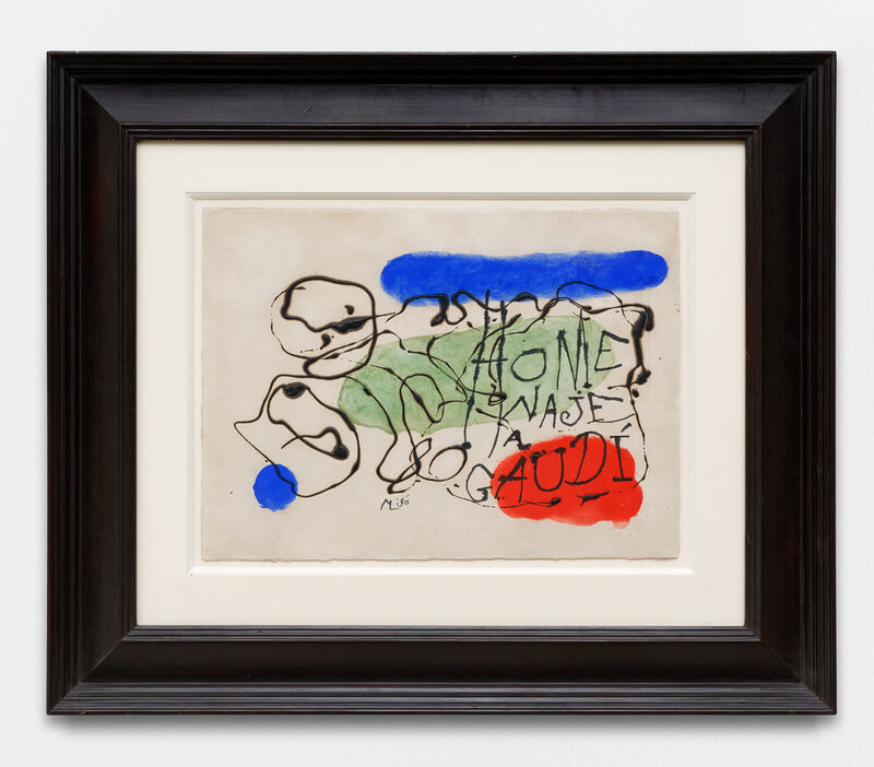 """Joan Miró, '""""HOMENAJE a GAUDI (hommage à Gaudí)""""', 1959, Painting, Watercolor and ink on paper, Galerie Traits Noirs"""