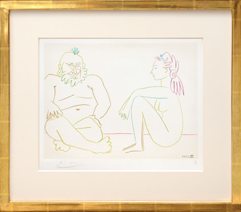 Pablo Picasso, '(Man and Woman Sitting.) Untitled from Suite de 15 dessins de Picasso. ', 1954, Print, Lithograph in colours on Arches watermarked wove paper, all edges untrimmed, Peter Harrington Gallery