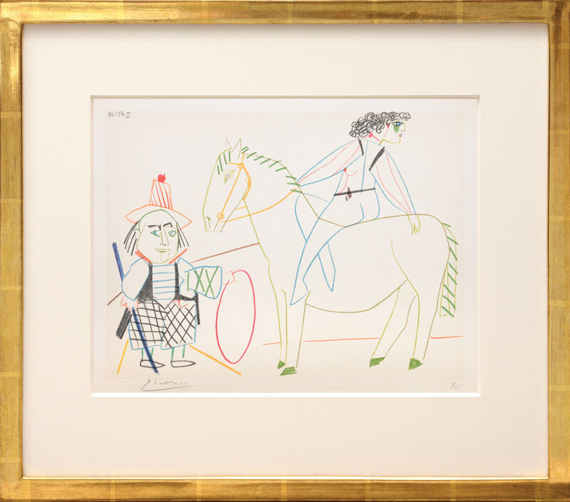 Pablo Picasso, '(Ringmaster with Horse and Rider.) Untitled from Suite de 15 dessins de Picasso. ', 1954, Print, Lithograph in colours on Arches watermarked wove paper, all edges untrimmed, Peter Harrington Gallery