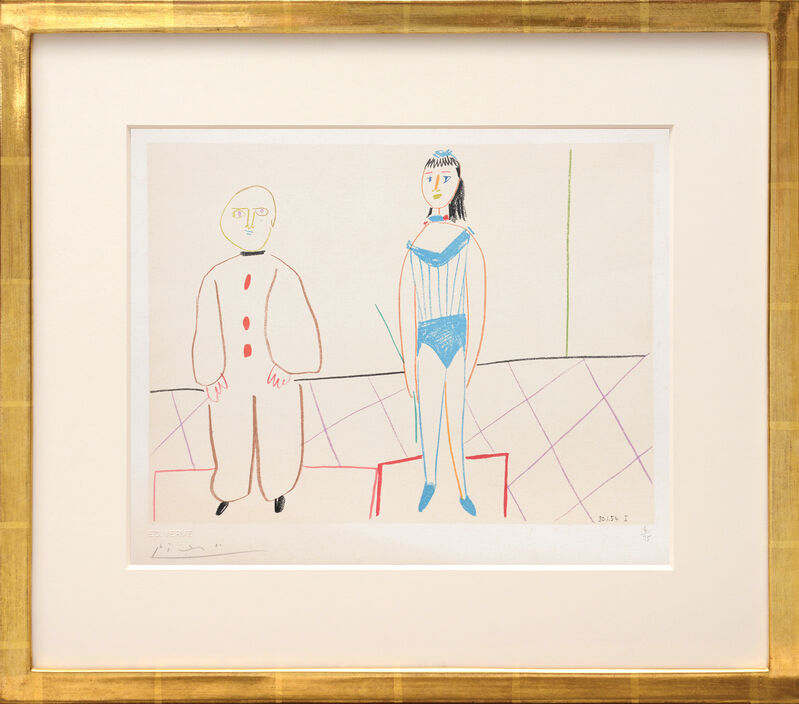 Pablo Picasso, '(Pierrot and the Acrobat.) Untitled from Suite de 15 dessins de Picasso. ', 1954, Print, Lithograph in colours on Arches watermarked wove paper, all edges untrimmed, Peter Harrington Gallery