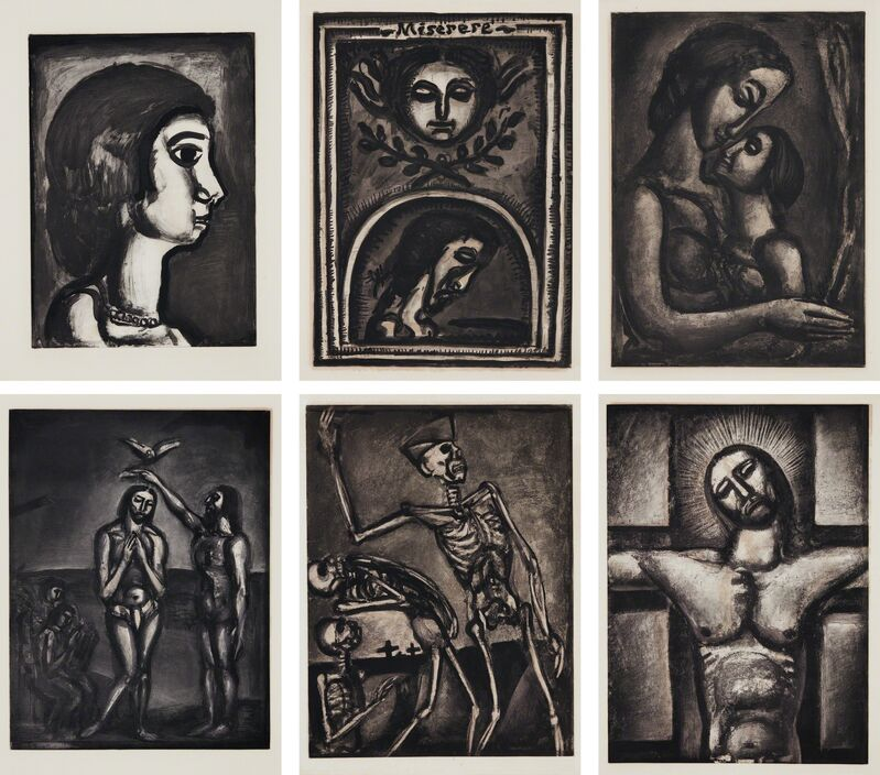Georges Rouault, 'Miserere (Have Mercy)', 1922-27, Print, The complete set of 58 aquatints with drypoint and burnishing over heliogravure, on laid paper watermark Ambroise Vollard, with full margins, loose (as issued), hors-texte, with title, text and justification pages, contained in the original rust-colored linen and parchment-covered portfolio with title in gilt, Phillips