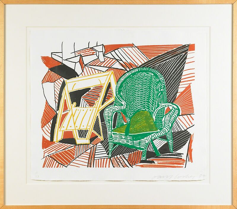 David Hockney, 'Two Pembroke Studio Chairs from Moving Focus (Tokyo 276)', 1985, Print, Lithograph in colors on HMP handmade paper, Rago/Wright