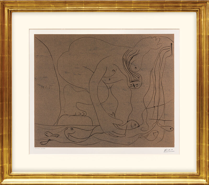 Pablo Picasso, 'Femme nue pêchant des truites à la main. (Nude Woman Fishing for Trout by Hand.)', 1962, Print, Linocut in ochre over black on vélin d'Arches watermarked wove paper., Peter Harrington Gallery