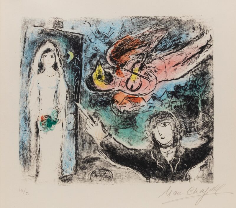 Marc Chagall, 'La petit mariee (The Little Bride)', 1977, Print, Color lithograph, Hindman