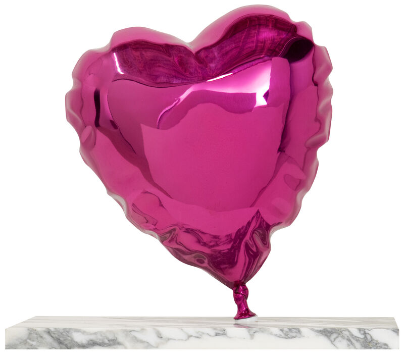 Mr. Brainwash, 'Balloon Heart - Chrome Pink', 2020, Sculpture, Painted Polished Bronze on Marble Base, Deodato Arte