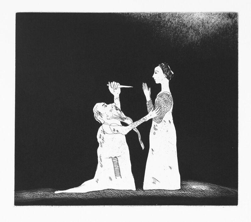 David Hockney, 'Old Rinkrank Threatens the Princess', 1969, Print, Aquatint and etching, Goldmark Gallery