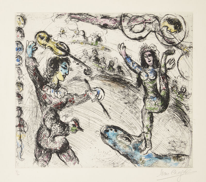 Marc Chagall, 'Acrobate et Violoniste [Cramer 64]', 1968, Print, Etching with aquatint in colours on wove, Roseberys