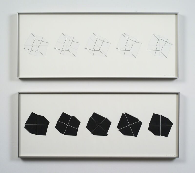 Manfred Mohr, 'P-308c-BL / P-308c-WH', 1980, Drawing, Collage or other Work on Paper, Plotter drawing ink on paper, diptych, bitforms gallery