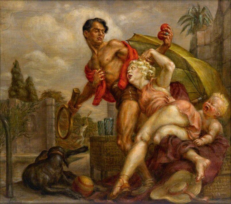 Paul Cadmus, 'Venus and Adonis', 1936, Painting, Egg tempra and oil on canvas on pressed wood board, Bernard Goldberg Fine Art