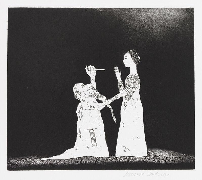 David Hockney, 'Old Rinkrank Threatens the Princess', 1969, Print, Etching, Gerrish Fine Art