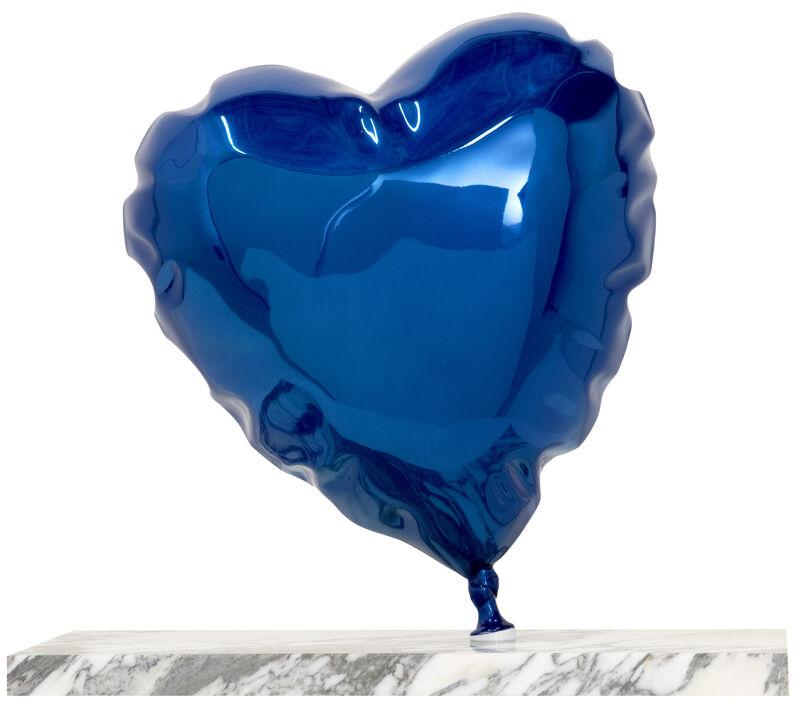 Mr. Brainwash, 'Balloon Heart - Chrome Blue', 2020, Sculpture, Painted Polished Bronze on Marble Base, Deodato Arte