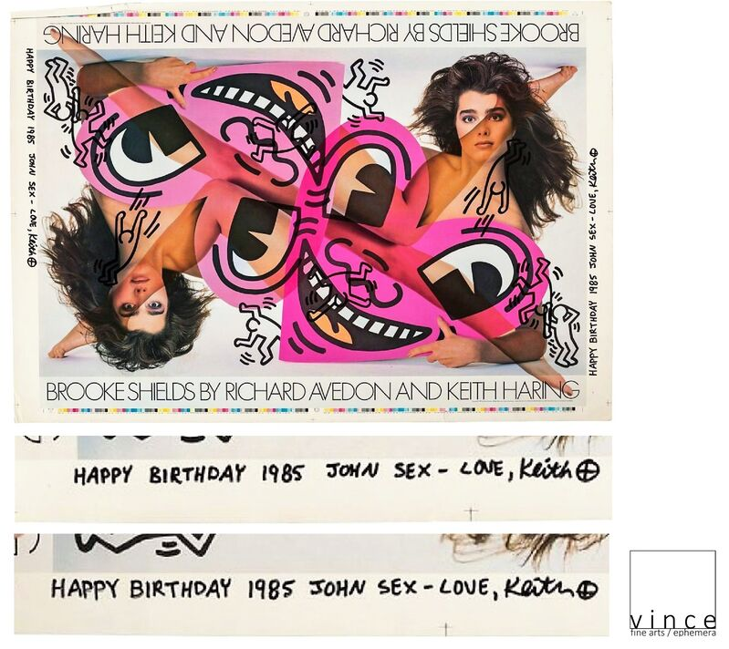 """Keith Haring, '""""""""HAPPY BIRTHDAY 1985 JOHN SEX- LOVE, KEITH"""", Brooke Shields by Richard Avedon and Keith"""", 1985,  TEST Poster, SIGNED / DATED / INSCRIBED to John SEX (twice), UNIQUE', 1985, Print, Lithograph on paper, VINCE fine arts/ephemera"""