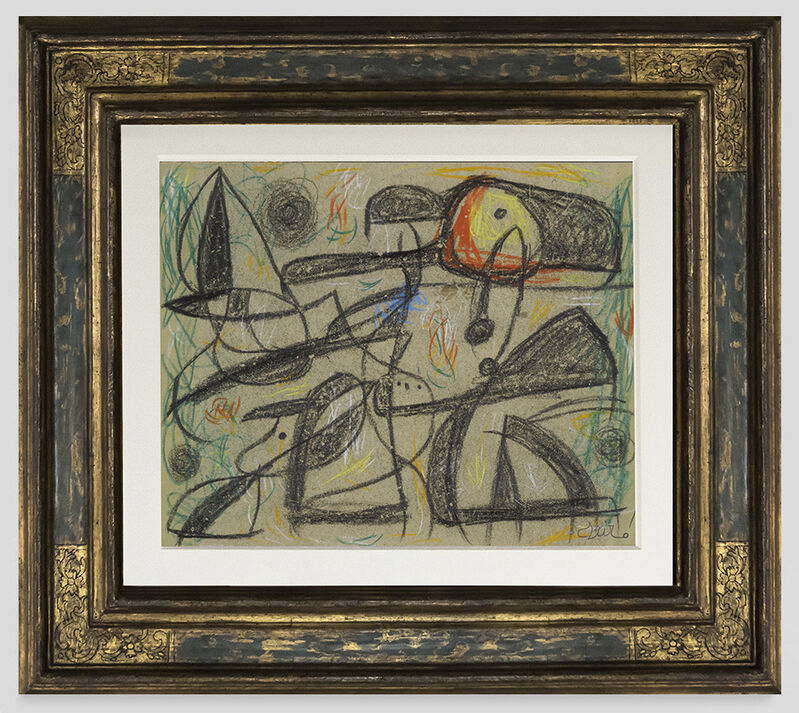 Joan Miró, 'Femme, oiseaux', 1977, Painting, Crayon and pastel on paper, Opera Gallery