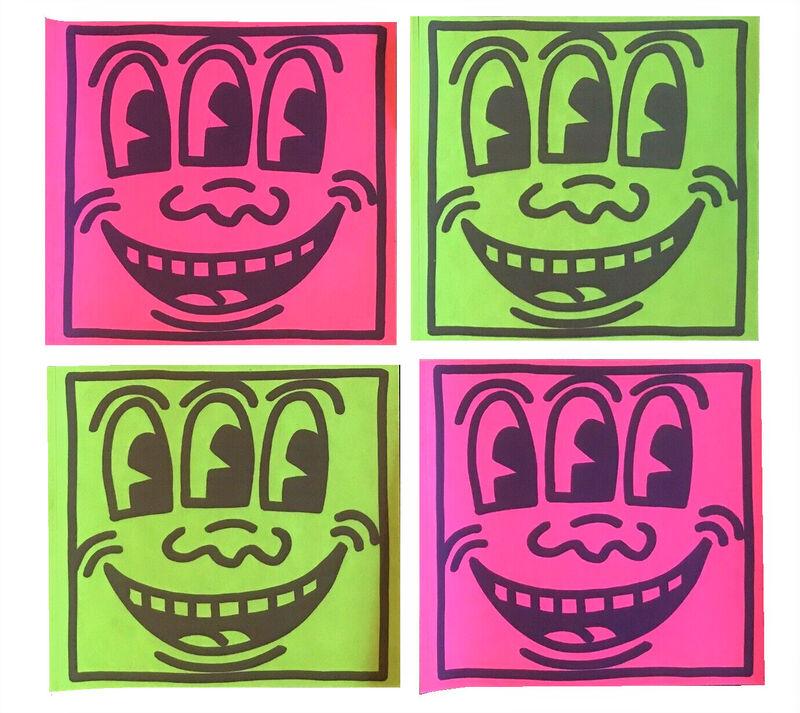 "Keith Haring, 'SET OF 4-  ""Three Eyed Smiling"", 1980's, POP Shop NYC, Stickers (unused), Green & Pink Neon , Self-Adhesive (unpeeled),', 1980's, Ephemera or Merchandise, Self-adhesive (unpeeled), offset-printed stickers, VINCE fine arts/ephemera"