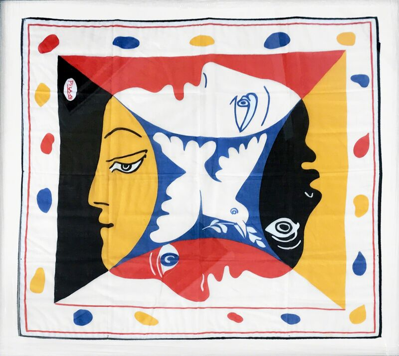 Pablo Picasso, 'Foulard pour le Festival Mondial de la Jeunesse et des Etudiants pour la Paix (Berlin) [Scarf for the Global Festival of youth and students for peace]', 1952, Textile Arts, Silkscreen on linen, in Black, red, blue, yellow and white, signed in the print, Dellasposa