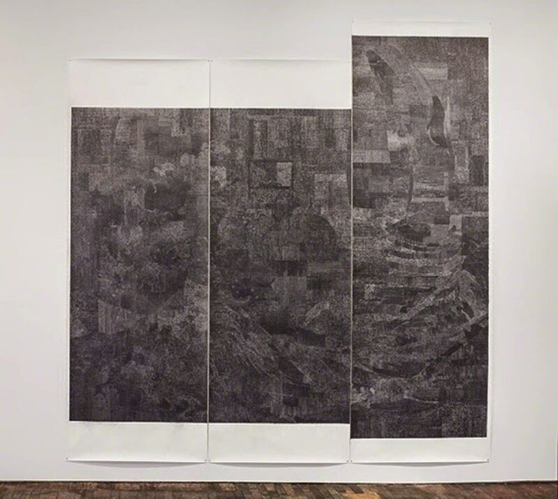 Lucy Skaer, 'Untitled (Black Drawing)', 2015, Drawing, Collage or other Work on Paper, Industrial Sharpie pen and pencil on Fabriano Artistico Super-white paper in three parts, GRIMM