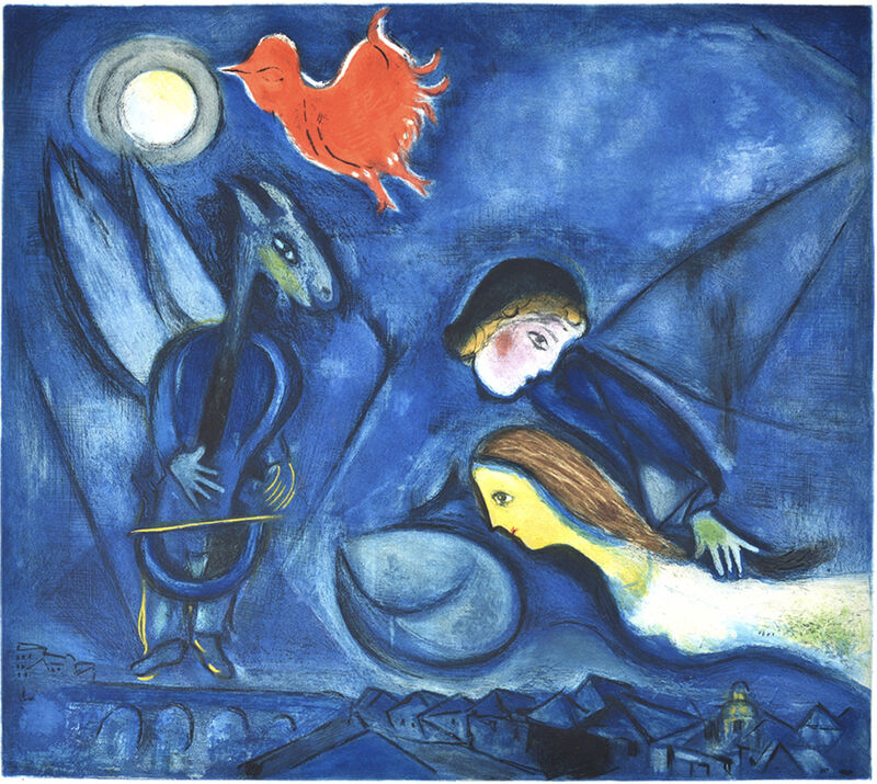 Marc Chagall, 'Aleko and his wife Zemphira from an Old Russian Tale', 1955, Print, Color Etching and Aquatint on Rives BFK Paper, Bananamous