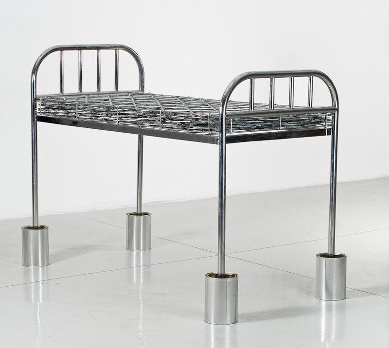Kendell Geers, 'WaitingWantingWastingWorking', 2012, Sculpture, Razor mesh, mild steel and concrete, Goodman Gallery