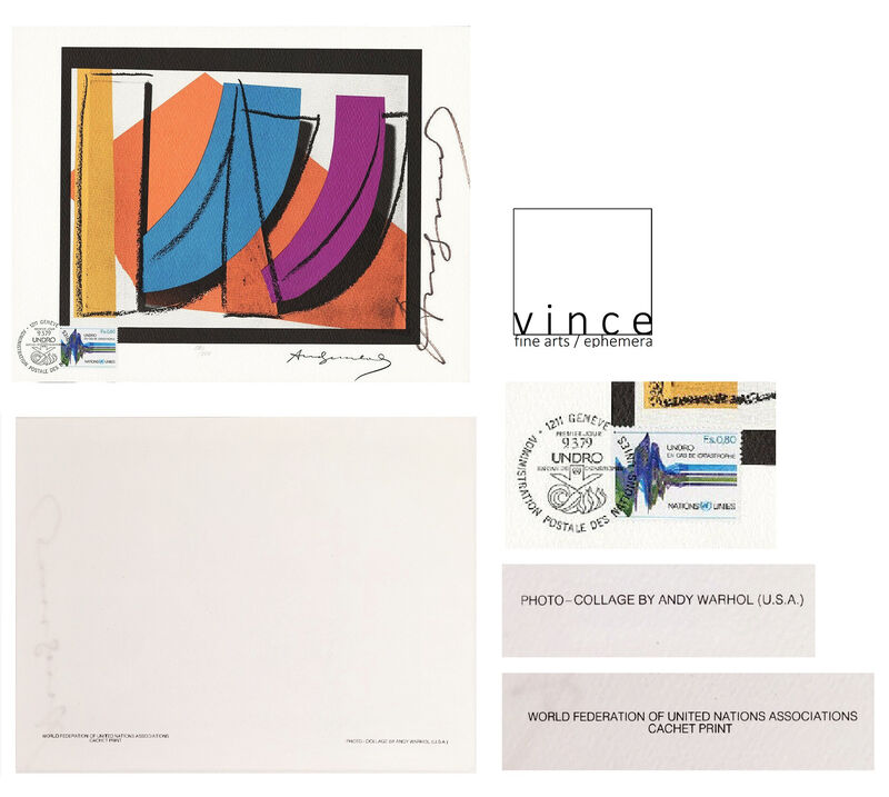 Andy Warhol, 'World Federation of United Nations Association, Lithograph, SIGNED/Numbered Edition 581/1000, UN Stamp/Post Marked ', 1979, Print, Lithograph on Rag Paper, VINCE fine arts/ephemera