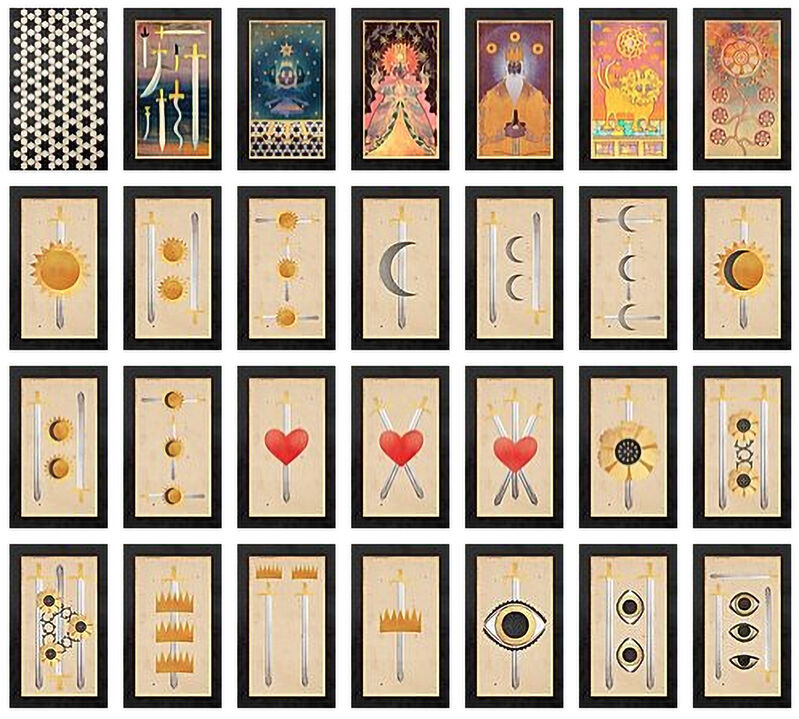 Deming King Harriman, 'Land of Swords Tarot Deck', 2019, Other, Prints on glossy card stock (27 cards) with folded reference insert on glossy paper in tin box, Deep Space Gallery
