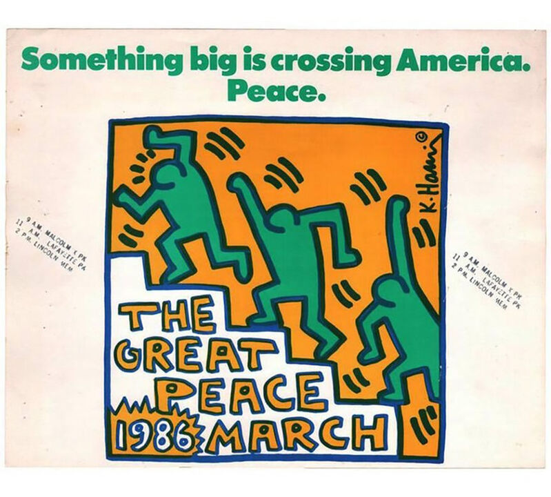 Keith Haring, 'Keith Haring The Great Peace March', 1986, Print, Off-set lithograph in colors on stiff wove paper, Lot 180