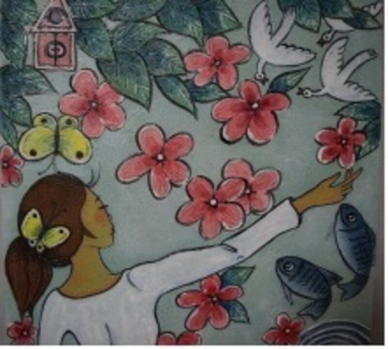 Gyung Yun Gong (공경연), 'Gar denof Her', 2015, Painting, Mixed media on JangJi, Row Gallery