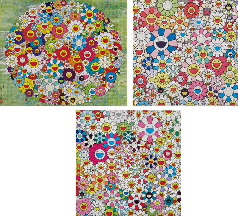 Takashi Murakami, 'Maiden in the Yellow Straw Hat; Open your Hands Wide; and Such Cute Flowers', 2010, Print, Three offset lithographs in colors, on smooth wove paper, the full sheets, Phillips