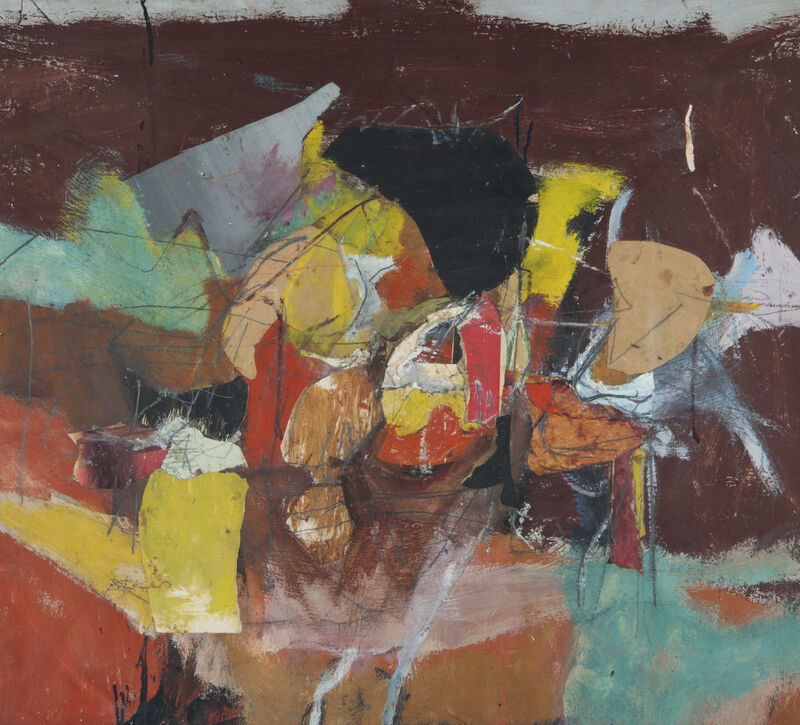 Henry Botkin, '[Abstraction in Red and Green]', ca. 1958, Painting, Oil on board with mixed media, Childs Gallery