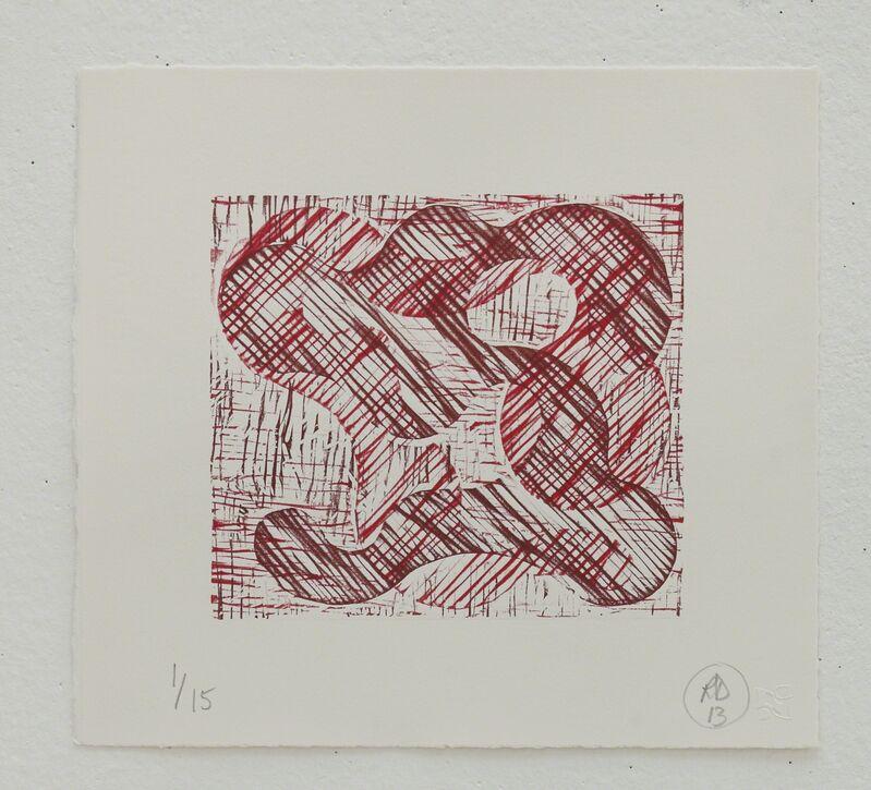 Richard Deacon, '1+1=10 Red/Dark Red', 2013, Print, Relief print, Fabriano 100% cotton paper, STPI