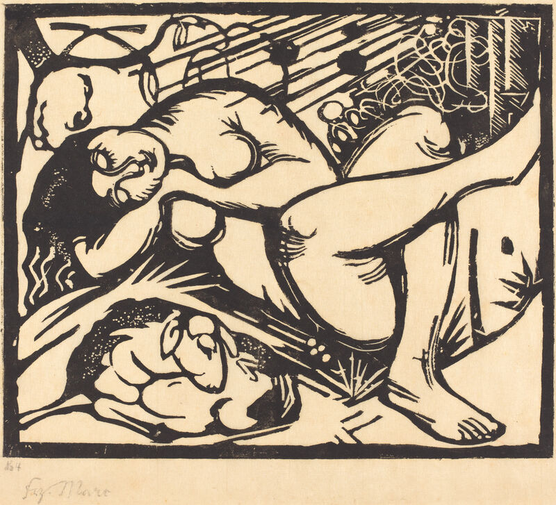 Franz Marc, 'Sleeping Shepherdess (Schlafende Hirtin)', 1912, Print, Woodcut, National Gallery of Art, Washington, D.C.