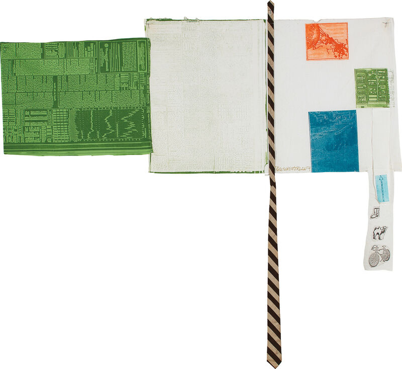 Robert Rauschenberg, 'Room Service, from Airport Suite', 1974, Mixed Media, Relief, intaglio and collage in colors, including the artist's personal tie, on white cotton and green muslin, machine buttonholed for mounting., Phillips